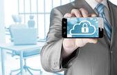 Cloud security concept with smartphone — Stock fotografie