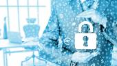 Lock security businessman protect concept — Stockfoto