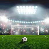 Balón de fútbol en el estadio verde arena — Foto de Stock