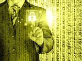 Businessman selecting padlock — Stock Photo