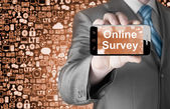 Businessman showing Online Survey — Stok fotoğraf