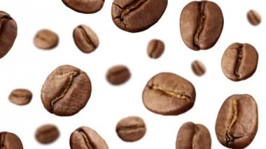Coffee Beans falling down on white background — Stock Video