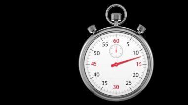 Stopwatch Loop Realtime. Realistic stopwatch animation in seamless loop, realtime speed — Stock Video