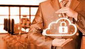 Businessman Protecting information — Stock Photo