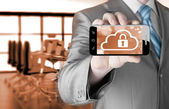 Cloud security concept with smartphone — Stock Photo