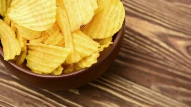 Potato chips, close-up - the rotation — Stock Video