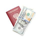 Russian passport with American dollars — Stock Photo