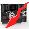 Oil Barrels with Arrow down — Stock Photo #67071153