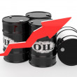 Oil Barrels with Arrow up — Stock Photo #67071215