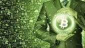 Businessman protecting bitcoin — Foto de Stock