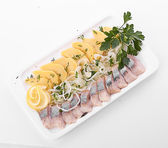 Sliced herring with onion — Stock Photo