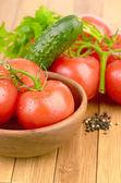 Setting pasta with tomato — Stock Photo