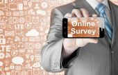 Businessman showing Online Survey — Foto Stock