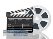 Clap di cinema e film reel — Foto Stock