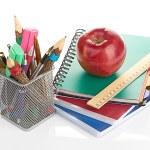 Box with school equipment — Stock Photo #68353857