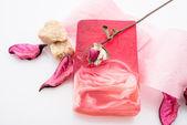 Handmade soap on white — Stockfoto