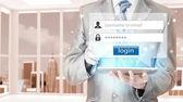 Бизнесмен, печатающий логин и пароль — Стоковое фото