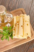 Kaas met olijfolie — Stockfoto