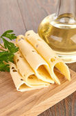 Cheese with olive oil — Stock Photo