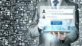 Businessman typing login — Stock Photo