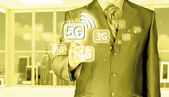 Businessman pushing 5G — Stock Photo