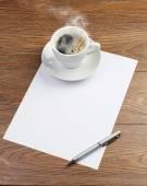 Coffee on white paper — Foto de Stock