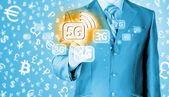 Businessman pushing 5G — Foto Stock