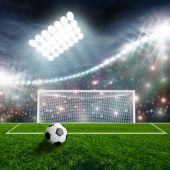 Balón de fútbol en arena — Foto de Stock