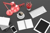 Tablet pc and office stuff — Stock Photo