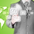 Uomo d'affari che spinge 5g — Foto Stock #75553363