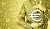 Businessman protecting euro — Stock Photo