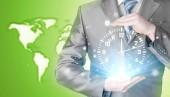 Orologio azienda imprenditore — Foto Stock