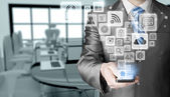 Business man using smart phone — Stock Photo