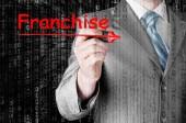 Mann schreiben franchise — Stockfoto