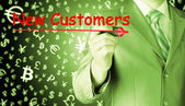Biznesmen pisanie nowych klientów — Zdjęcie stockowe