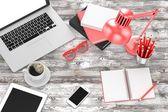 Laptop and office stuff — Stock Photo