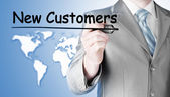 Işadamı yazma yeni müşteriler — Stok fotoğraf