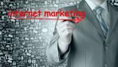 Homme d'affaires, rédaction marketing internet — Photo