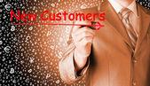Clienti nuovi di scrittura dell'uomo d'affari — Foto Stock