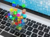 Shopping cart with icons — Stock Photo