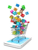 App icons in shopping cart — Stock Photo