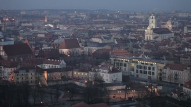 Vilnius Old Town at dawn time — Stock Video