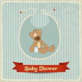 Retro baby shower card with teddy bear — Stock Vector