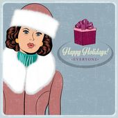Elegant young and happy woman in winter, retro Christmas card — Stock Vector