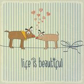 """Retro illustration with happy couple dogs in love and phrase """"Li — Stock Vector"""