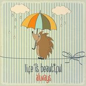 "Retro illustration with happy hedgehog and phrase ""Life is beaut — Vecteur"