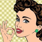 Pop art cute retro woman in comics style — Vecteur