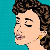 Pop art cute retro woman in comics style — Wektor stockowy