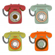 Retro phone items set on white — Stock Vector #57731267