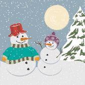 Vintage christmas poster with snowmen — Stockvector
